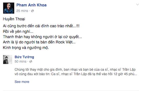 Phạm Anh Khoa bày tỏ sự kính trọng và ngưỡng mộ đối với Trần Lập.