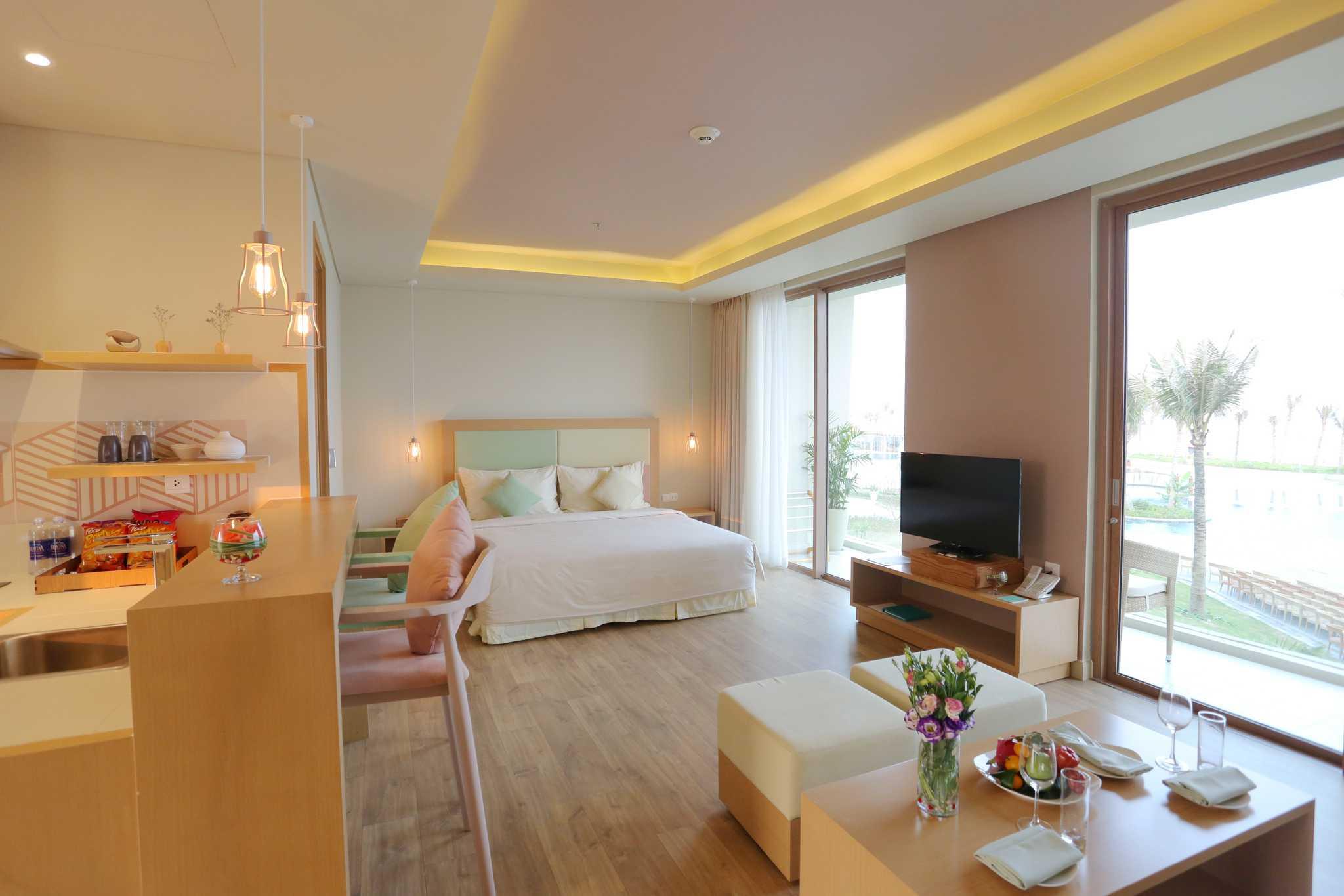 Căn hộ khách sạn của FLC Luxury Hotel Sầm Sơn có thiết kế trang nhã, hiện đại, với đa số căn có tầm nhìn hướng biển.