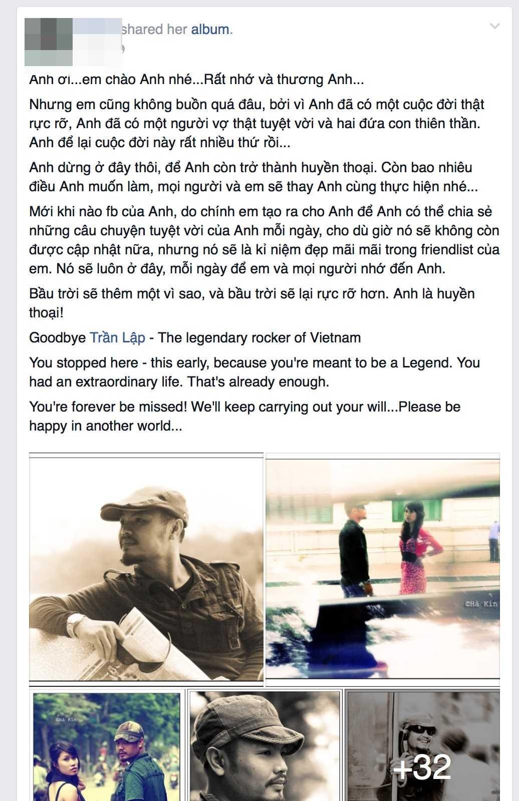 Chị Hà Vũ chia sẻ về Trần Lập (Ảnh chụp màn hình)
