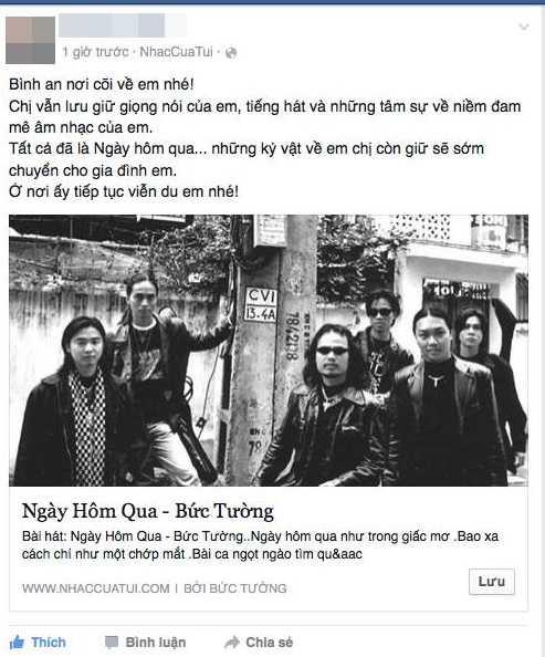 Tài khoản facebook A.M.Tđau xót trước cái chết của người nghệ sỹ trẻ (Ảnh chụp màn hình)