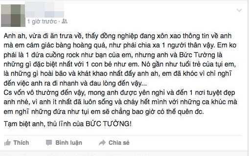 Tài khoản facebook T.P nói về Trần Lập (Ảnh chụp màn hình)