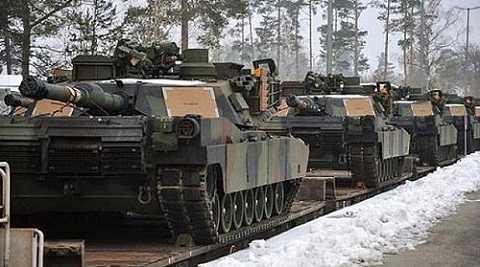 Xe tăng M1A2 Abrams của Mỹ được đặt ở căn cứ châu Âu. Ảnh: US Army