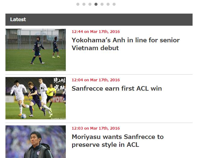 Thông tin Tuấn Anh trên trang chủ J-League