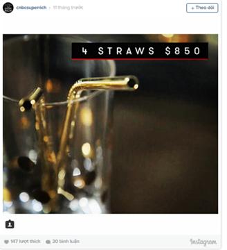 Dùng ống hút bằng vàng có giá 850 USD.