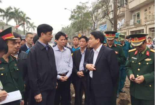 Chủ tịch UBND TP Hà Nội - ông Nguyễn Đức Chung có mặt tại hiện trường trực tiếp chỉ đạo xác minh vụ việc.
