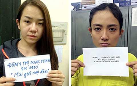 """2 """"má mì"""" môi giới á khôi bán dâm ngàn đô Đoàn Thị Ngọc Minh (trái) và Trần Đức Thùy Liên"""