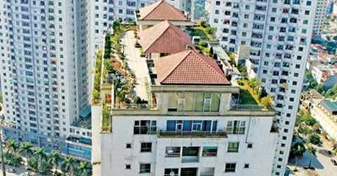 Khu vườn thượng uyển trên nóc tòa chung cư Xa La (Hà Đông, Hà Nội). Ảnh: Như Ý.