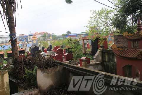 Một góc nghĩa trang thôn Trai Trang, nơi con trăn thường xuất hiện