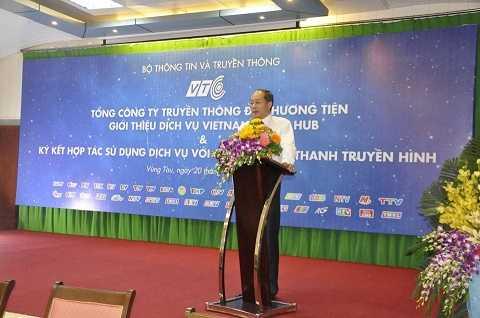 Ông Lưu Vũ Hải - Chủ tịch Hội đồng thành viên Tổng công ty VTC phát biểu tại buổi giới thiệu và ký kết hợp tác sử dụng dịch vụ VMH