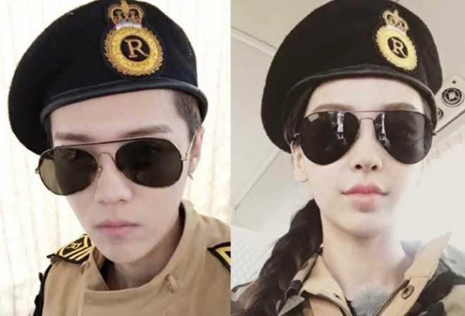 Luhan và Angelababy trong hình ảnh 2 nhân vật của Hậu duệ mặt trời. Ảnh: weibo