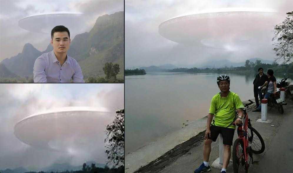 Đĩa bay trong hình được PV VTC News tạo ra giống hệt với bức ảnh của anh Trung.