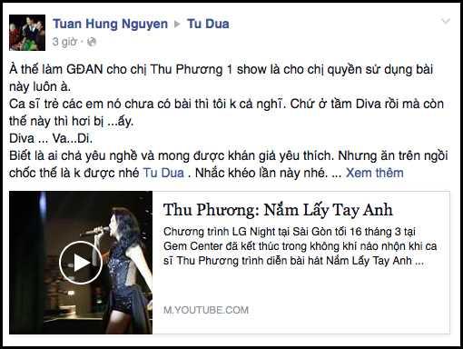 Tuấn Hưng 'nhắc khéo' Tú Dưa khi cho Thu Phương hát hit độc quyền của mình.
