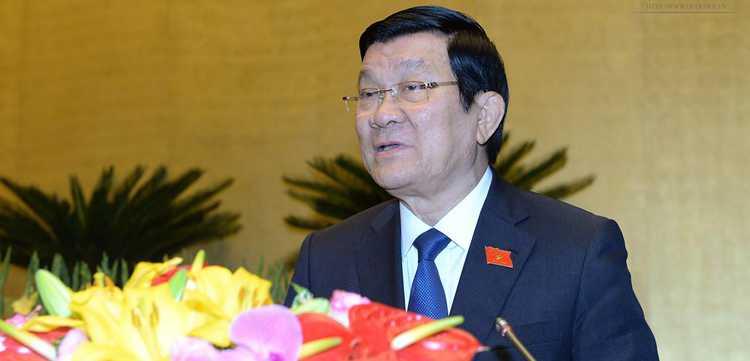 Chủ tịch nước Trương Tấn Sang đã có báo cáo nhiệm kỳ của mình trước Quốc hội khóa XIII (Ảnh: VPQH)
