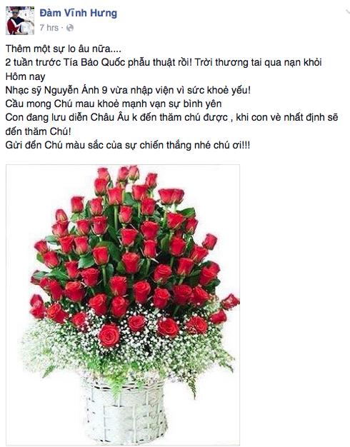 Đàm Vĩnh Hưng gửi lời chúc bình an đến nhạc sỹ Nguyễn Ánh 9.