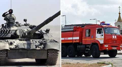 Xe tăng cứu hỏa này được thiết kế dựa trên T-72 và T-80