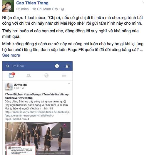 Chân dài Cao Thiên Trang cho rằng Quỳnh Mai đã vượt qua giới hạn của sự