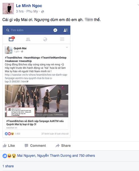 Stylist Lê Minh Ngọc, một trong ba mảnh ghép của Bitches In Town cảm thấy xấu hổ thay cho Quỳnh Mai.