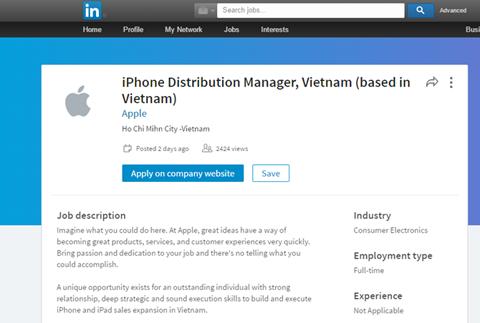 Thông tin đăng tải tìm kiếm nhân sự của Apple trên LinkedIn. Ảnh chụp màn hình.