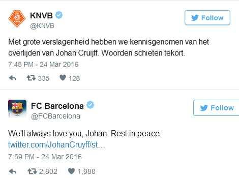 LĐBĐ Hà Lan và CLB Barcelona gửi lời chia buồn và tri ân với Thánh Johan