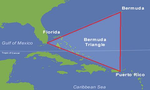 Khu vực Tam giác Bermuda ở tây bắc Đại Tây Dương. Ảnh: Wikipedia.