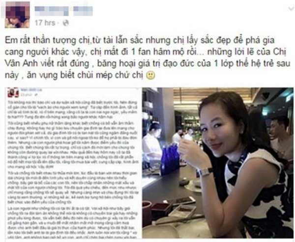 Fan hâm mộ tỏ ra thất vọng về nữ ca sĩ đồng thời trích dẫn bài phản pháo của vợ Chu Đăng Khoa.