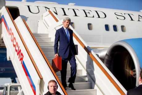 Ngoại trưởng Mỹ John Kerry tới Moscow hôm 24/3/2016.