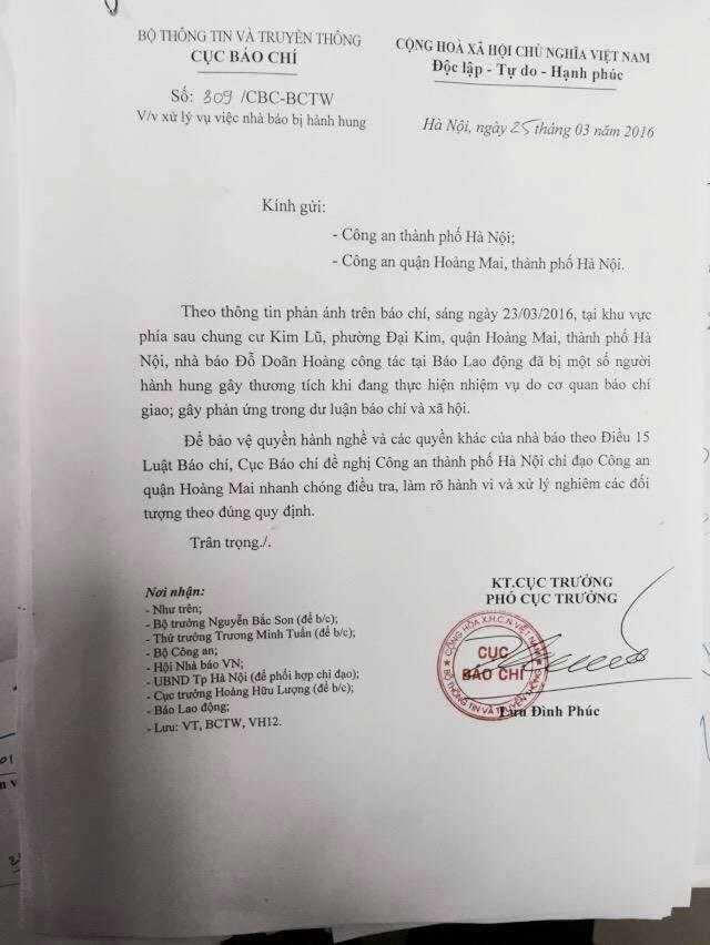 Công văn của Cục Báo chí đề nghị điều tra làm rõ vụ hành hung nhà báo Đỗ Doãn Hoàng
