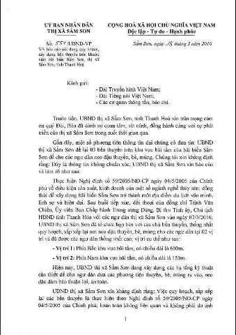 Văn bản số 551/UBND-VP của UBND thị xã Sầm Sơn đổ lỗi cho báo chí thông tin
