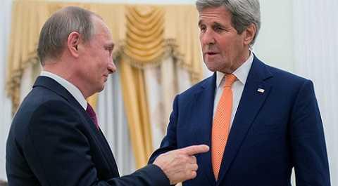 TT Nga Vladimir Putin và Ngoại trưởng Mỹ John Kerry trong cuộc gặp ngày 24-3.