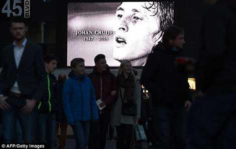 Màn hình lớn bên ngoài sân vận động Amsterdam Arena, nơi sắp được đổi tên  để tri ân Thánh Johan