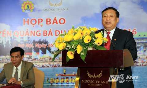 Ông Hồ Quang Thành, Tỉnh ủy viên, Giám đốc Sở TT&TT tỉnh Nghệ An chia sẻ mong muốn có nhiều cơ quan báo đài quan tâm du lịch Cửa Lò.(Ảnh: Duy Thành)