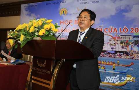 Ông Trần Duy Ngoãn, Chủ tịch Hội Nhà báo Nghệ An nêu thay đổi thể lệ cuộc thi báo chí tuyên truyền về du lịch Cửa Lò 2016 (Ảnh: Duy Thành)