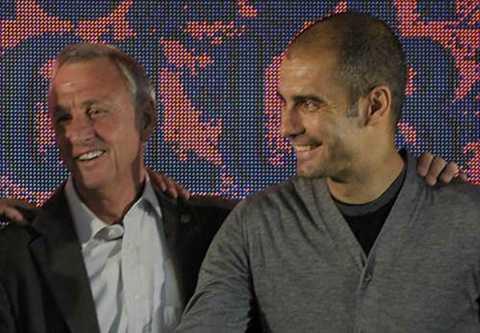 Pep Guardiola từng là học trò của Johan Cruyff