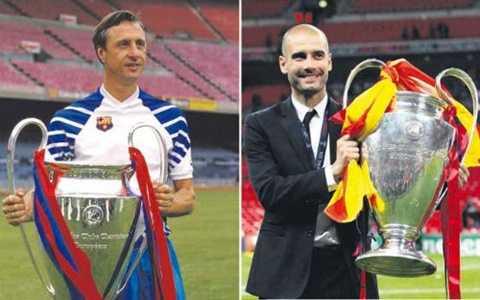 Pep và Cruyff là 2/4 HLV giúp Barca giành Champions League