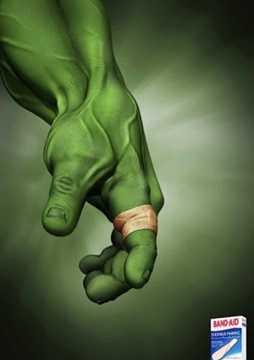 Ngay cả người khổng lồ xanh Hulk cũng phải sử dụng sản phẩm cầm máu của Band-Aid.