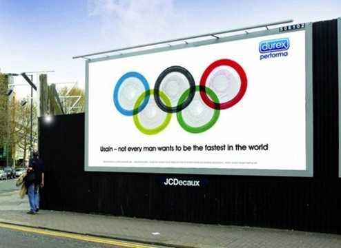 """Quảng cáo táo bạo của hãng bao cao su Durex với thông điệp gây bật cười với người xem: """"Này Usain – không phải ai cũng muốn làm người nhanh nhất thế giới"""" (Usain Bolt là vận động viên điền kinh đang nắm giữ kỷ lục thế vận hội Olympic)."""