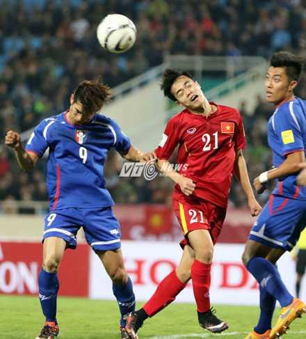 Văn Toàn ghi 2 bàn ngay trong trận ra mắt ĐTVN (Ảnh: Quang Minh)
