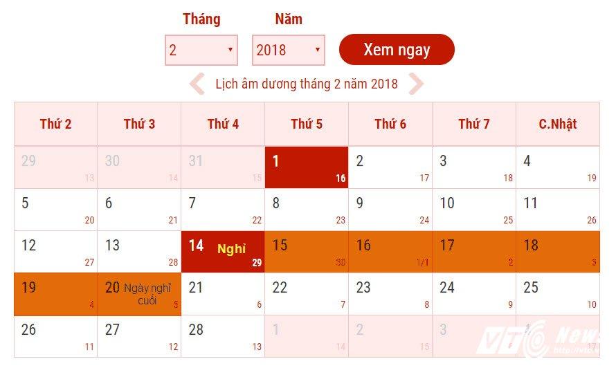 Lich nghi Tet Nguyen dan Mau Tuat 2018 chinh thuc cua nguoi lao dong hinh anh 1