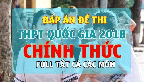 Dap an de thi THPT Quoc gia 2018 chinh thuc cua Bo Giao duc hinh anh 1
