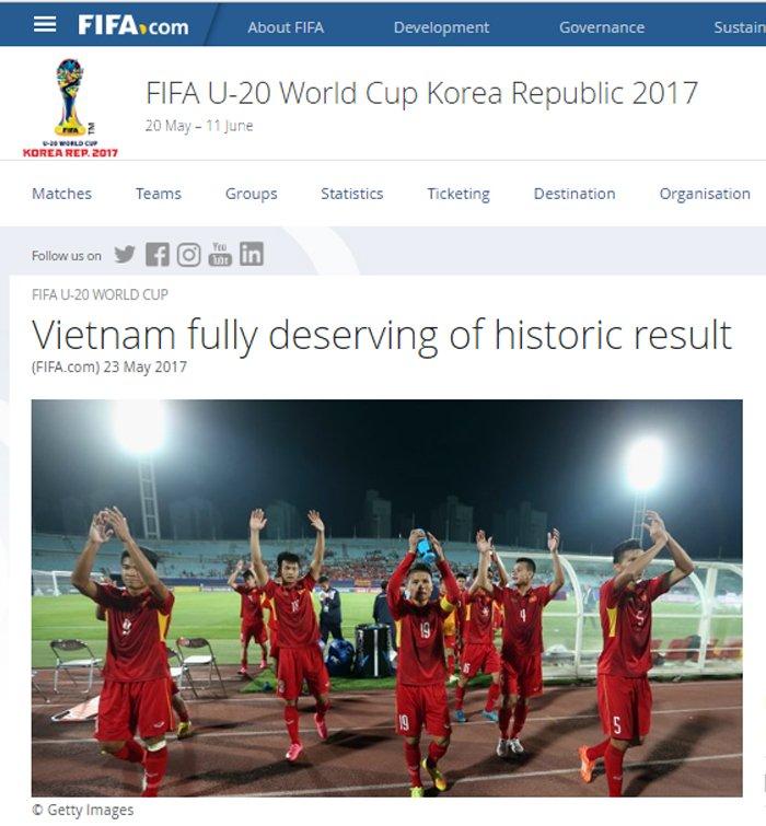 FIFA: U20 Viet Nam xung dang voi ket qua lich su hinh anh 1
