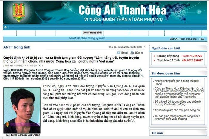 Cong an Thanh Hoa khoi to bi can tuyen truyen chong nha nuoc hinh anh 1