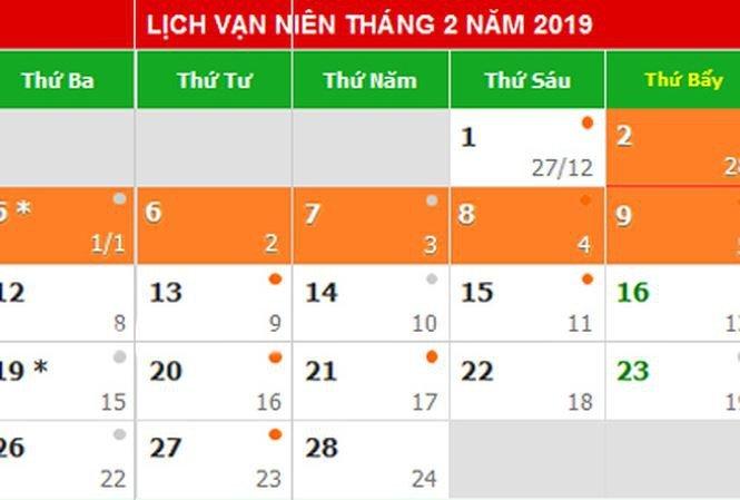 Lich nghi le, Tet chinh thuc nam 2019 hinh anh 1
