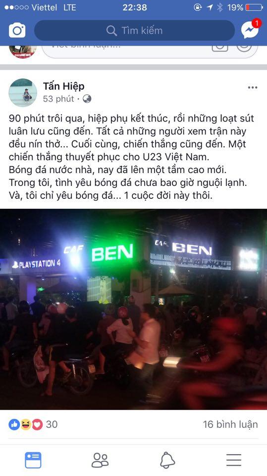 Cu dan mang cuòng nhiẹt chúc mùng chien thang cua U23 Viẹt Nam hinh anh 6