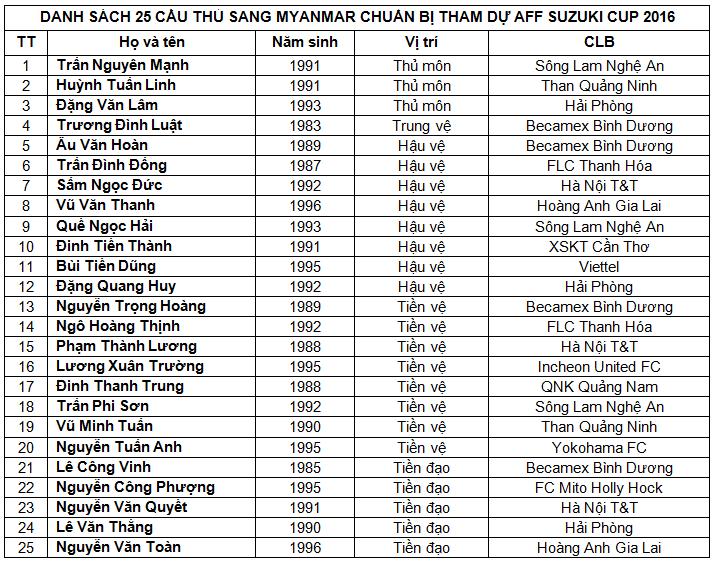 AFF Cup 2016: Tuyen Viet Nam loai 5 cau thu dau tien hinh anh 1