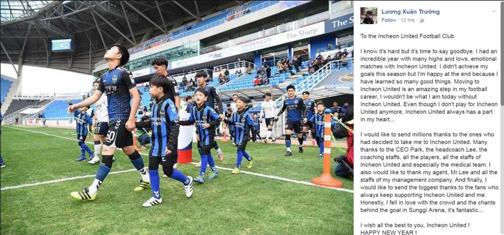 Xuan Truong ngam ngui noi loi chia tay Incheon Utd hinh anh 1