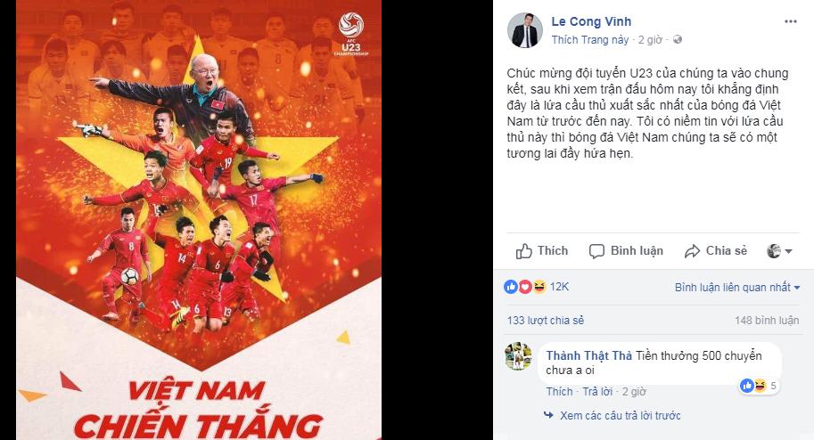 Cong Vinh than phuc U23 Viet Nam: 'Day la lua cau thu xuat sac nhat Viet Nam' hinh anh 1