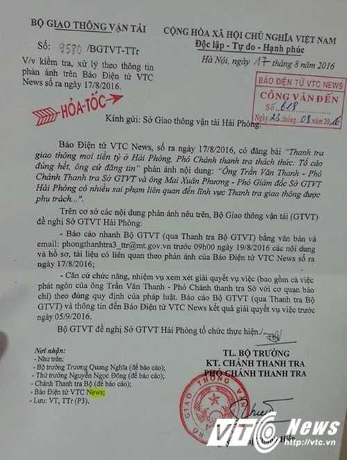 Thanh tra giao thong moi tien ty o Hai Phong: So GTVT 'chong lenh' cua Bo? hinh anh 1
