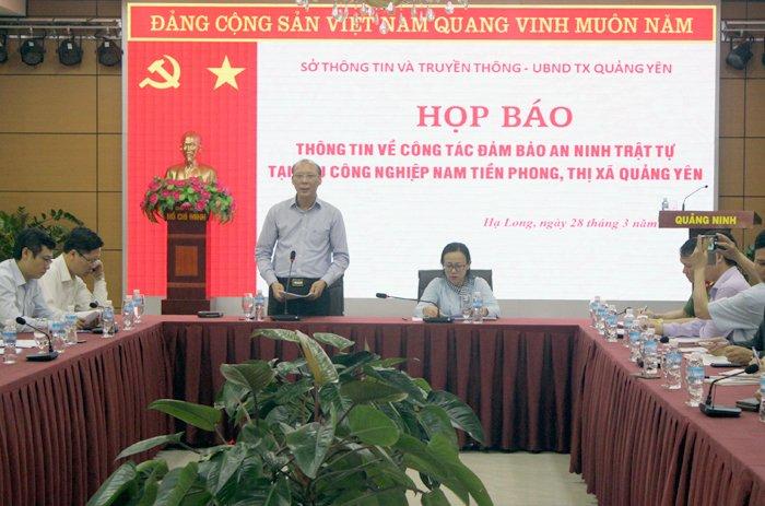 Nhom con do hanh hung bao ve, dap pha tai san khu cong nghiep: Quang Ninh hop bao khan hinh anh 1