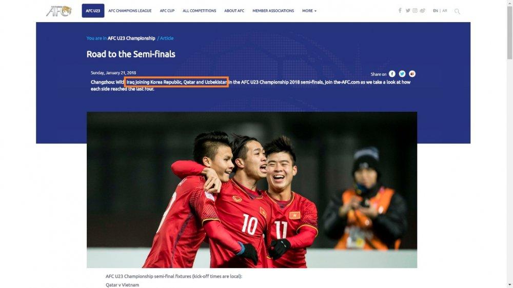 AFC lai nham lan, 'loai' U23 Viet Nam khoi ban ket U23 chau A hinh anh 1