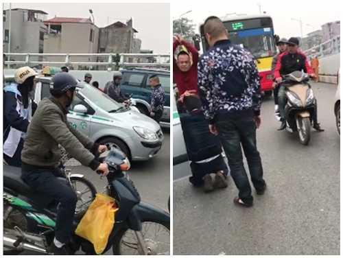 3 ten con do chan xe taxi, hanh hung tai xe quy lay tren pho Ha Noi hinh anh 1